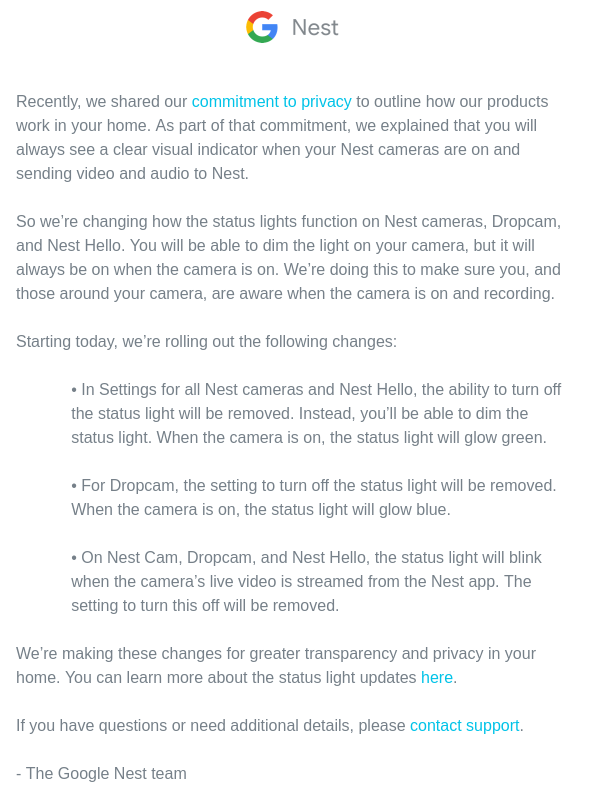 Google Forcing Nest Cameras Visual Indicator Light To Be On